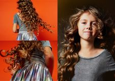 Girl on orange background in the Studio. Very long curly hair like in a fairy tale.Rapunzel. developing in the movement Stock Image