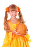 Girl in orange dress  Stock Photography