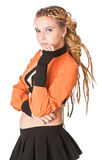 Girl in orange dress with dreadlocks. Royalty Free Stock Photography