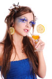 Girl with orange drink Royalty Free Stock Image
