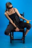 Girl with orange-fruit Stock Photo