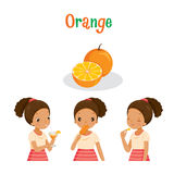 Girl With Orange Fruit, Juice, Ice Cream And Letters Royalty Free Stock Image
