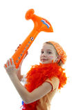 Girl with orange hammer Royalty Free Stock Images