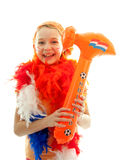 Girl with orange hammer Stock Photography