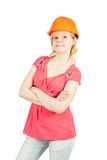 Girl in orange hard hat Stock Images