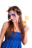 Girl with orange juice Royalty Free Stock Image