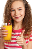 Girl with orange juice Royalty Free Stock Photos