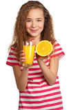 Girl with orange juice Stock Image