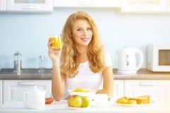 girl with orange juice Stock Image