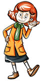 Girl in orange overcoat smiling. Illustration Stock Image
