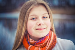 The Girl In A Orange Scarf Stock Photo