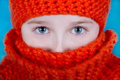 Girl in Orange Scarf and hat Stock Photography