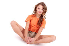 Girl in orange sport's wear Royalty Free Stock Images
