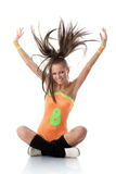 Girl in an orange  swimsuit. Fitness. Stock Photography