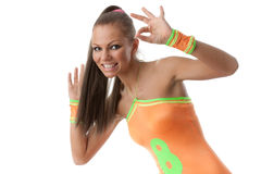 Girl in an orange  swimsuit. Fitness. Stock Photo