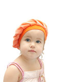 The girl in orange take royalty free stock images