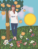 The girl with an orange tree. And the falling oranges Royalty Free Stock Photos