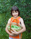 The girl in an orange vest with peas basket. Costs in a kitchen garden Royalty Free Stock Images