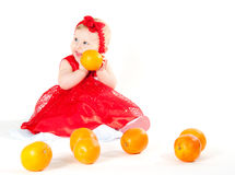 The girl and oranges Stock Photos