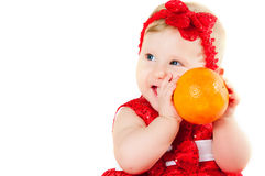 The girl and oranges Stock Photography