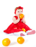 The girl and oranges Royalty Free Stock Image