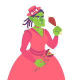 Girl orc in pink dress in Victorian style. Vector flat illustration Stock Photos