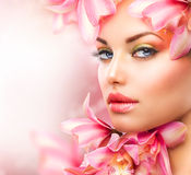 Girl with Orchid stock photo