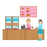 Girl Ordering A Cake At The Counter, Smiling Person Having A Dessert In Sweet Pastry Cafe Vector Illustration. Happy Primitive Cartoon Character At Bakery Shop Royalty Free Stock Images
