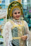 The girl in the Orenburg downy shawl; Royalty Free Stock Image