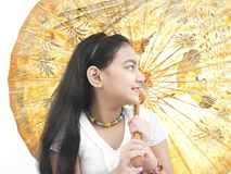 Girl with an oriental umbrella Royalty Free Stock Photos