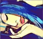 Original  image girl with eyes closed stock illustration