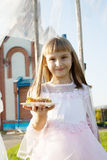 Girl  on a orthodox church background. Stock Image