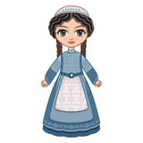 The girl in Orthodox Jews  dress.  Historical clothes. Linear pattern on a white background.  Line drawing festive. Vector drawing Stock Images