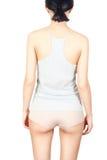 Girl in orthopedic belt. Sore back . Girl Dress orthopedic belt Royalty Free Stock Photo