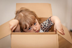 Girl out of the box Stock Image