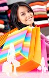 Girl out shopping Stock Images