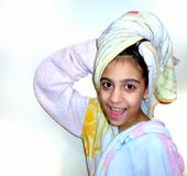 Girl out of the shower Royalty Free Stock Photography