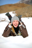 Girl outdoor. Young smiling girl portrait winter Stock Photography