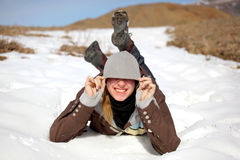 Girl outdoor. Young smiling girl portrait winter Royalty Free Stock Photography