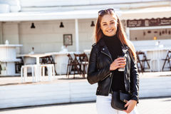 Girl in outdoor cafe Royalty Free Stock Photo