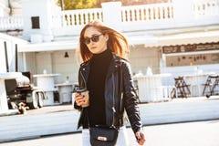 Girl in outdoor cafe Stock Photos