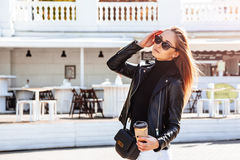 Girl in outdoor cafe Royalty Free Stock Image