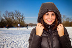Girl outdoor on a frozen surface Royalty Free Stock Images