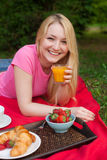 Girl outdoor in the park having picnic on the grass Stock Photo