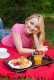Girl outdoor in the park having picnic on the grass Stock Image
