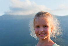 Girl outdoor portrait in sunset sunlight Stock Images
