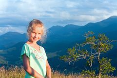 Girl outdoor portrait in sunset sunlight Royalty Free Stock Photo