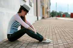 Girl outdoor road sad alone Stock Images