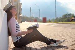 Girl outdoor road sad alone Stock Photo