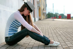 Girl outdoor road sad alone Stock Photography